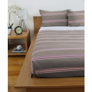 Hudson Stripe Printed Comforters & Pillowcases - Almond