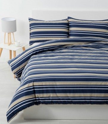 Brighton Quilt Cover Sets & Pillowcases - Midnight Blue