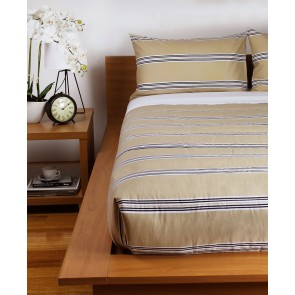 Hudson Stripe Printed Comforters & Pillowcases - Latte