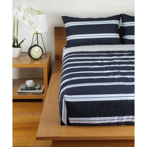 Hudson Stripe Printed Comforters & Pillowcases - Navy