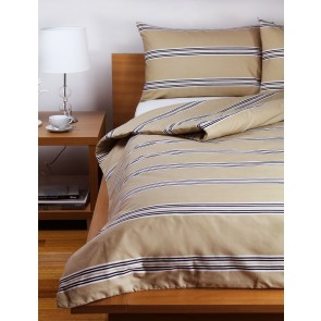 Hudson Stripe  Quilt Cover Sets - Latte